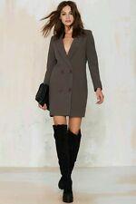 Nasty Gal Jordan Tuxedo  Blazer Dress sz L Gray Suit Jacket Mini Gigi Hadid 8 10