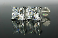 Studs Earrings Square Princess Cut 14k Real White Gold With Screw Back 3.51 CT