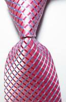 New Classic Checks Pink Blue White JACQUARD WOVEN 100% Silk Men's Tie Necktie