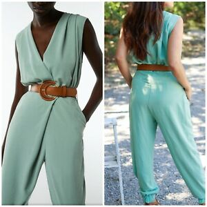 ZARA WOMAN'S WRAP GREEN JUMPSUIT WITH BELT SIZE S, NWT SS21
