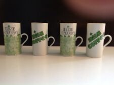 FINAL Sale!  4 IRISH COFFEE Ceramic Mugs Cups White/green Vintage EXCELLENT