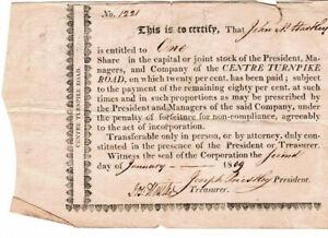 Original 1809 Centre Turnpike Road PA Certificate Pmt. Recpts Sign on Back