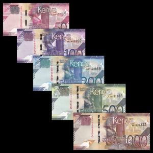 Kenya Set 5 PCS, 50 100 200 500 1000 Shillings, 2019, P-NEW, UNC