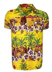 MENS HAWAIIAN SHIRT STAG BEACH HAWAII ALOHA  SUMMER HOLIDAY FANCY YELLOW SUN