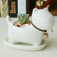 Perro blanco cerámica glaseada Maceta Novedad Animal maceta maceta