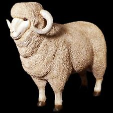 LIFE SIZE MERINO RAM SHEEP STATUE GARDEN/INDOOR PATIO LAWN ORNAMENT RESIN ANIMAL