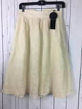 Clocolor Lace Skirt Size M Cream Lined A Line Below Knee New