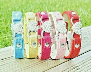 Dog Collar Puppy Pink Gold Female Fashion Heart XS Small Tiny Diamante Show UK