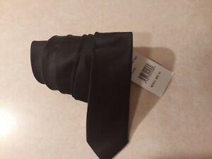 Original Penguin Men's Solid Satin Super Slim Tie, Black, One Size