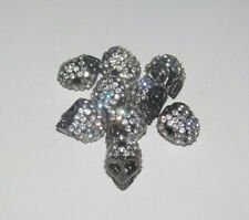 Lot Création Bijoux Style Shamballa 9 Perles Tête de Mort Argent Strass