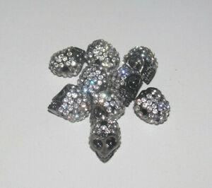 Lot Création Bijoux 9 Perles Tête de Mort Argent Strass