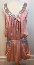 LISA BROWN Blush Pink Silk Silver Sequin Drape Pocket Tie Front Cocktail Dress S