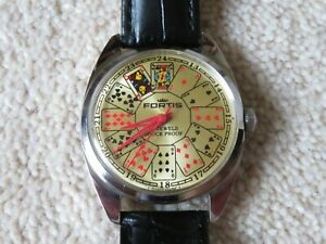 VINTAGE GENTS FORTIS PLAYING CARD WATCH 1950's