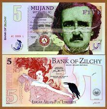 Mujand Republic, 5 Zilchi, 2015,  Edgar Allan Poe, UNC > Limited Issue POLYMER