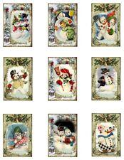 "Christmas Snowman B Repro Cotton Fabric Quilt Blocks (9) @ 2X3"" on 8.5X11"""