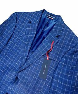 Tommy Hilfiger Men Blazer US Size 38R Regular Suit Jacket Linen Blue Windowpane