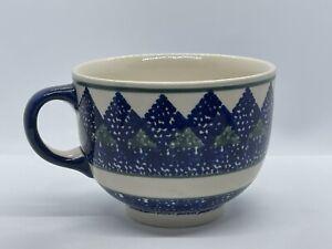 Polish Pottery Soup Coffee Cocoa Tea Mug 16oz BOLESLAWIEC Blue & Green Trees