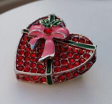 Brosche Anstecknadel 3,5 cm Herz Strass-Steine rot Schleife rosa grün *NEU*