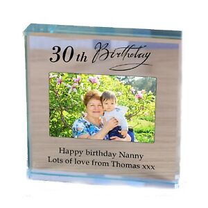 Nanny Birthday personalised gift Glass photo Paperweight 30th 40th 50th 60th 70