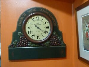 VINTAGE DEWBERRY LONDON 3D WOODEN WALL CLOCK FRENCH WINE ASSOCIATION HAND PAINT