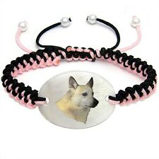 Norwegian Buhund Dog Natural Mother Of Pearl Adjustable Knot Bracelet Chain Bs48