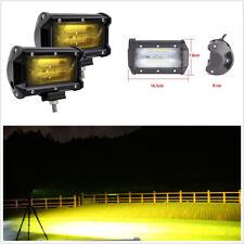 2x DC12V 72W 5'' 4D LED Car Truck Work Light Bar Spotlight Fog Lamps DRL Yellow