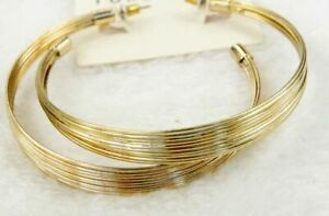 6cm gold coloured 10 layer wire hoop earrings
