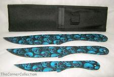 3 PIECE BLUE SKULL PRINT THROWING KNIVES WITH NYLON CASE