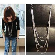 Fashion Vintage Silver 7 layer Long Tassel Pendant Necklace Sweater Chain GA