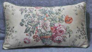 Corded Accent Pillow made w Ralph Lauren Villandry Floral Garden Fabric 20x12