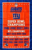 New York Giants NFL Super Bowl Championship Flag 3x5 ft Sports Banner Man-Cave
