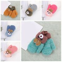 1 Pair Toddler Baby Winter Warm Gloves Thick Fur Mittens With String Hand Warmer