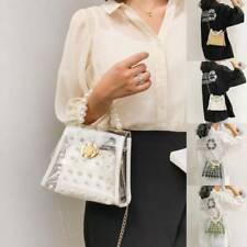 Women Transparent PVC Clear Clutch Bag Purse Tote Casual Pearl Shoulder Handbag