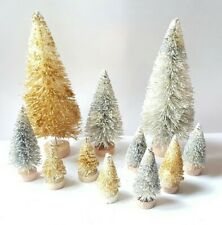 Lot 11 Mini Metallic Silver & Gold Miniature Sisal Bottle Brush Christmas Trees