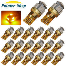 20 X Amber/Yellow T10 Wedge Side 5SMD 5050 LED Light bulb W5W Car Interior Light