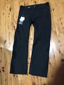 New Salomon Clima Pro 10K Snowflirt All Mountain Mens XL Snow Ski Pants Black