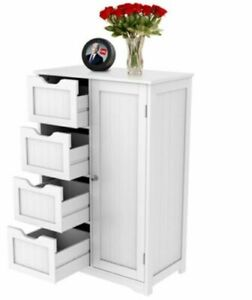 Wooden White Bathroom Floor Cabinet with Side Storage Cupboard and 4 Drawers