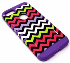 For iPhone 7 Bright Chevron Purple Rubber Hard Soft Hybrid Protector Case Cover
