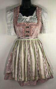 Womens 8 40 Oktoberfest Dress Trachten Stil Dirndl Ernst Licht pink apron 3 pc