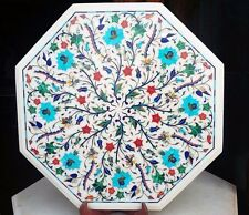 """12"""" Marble Side Corner Table Top  Floral Semi Precious Stones Inlay Work"""