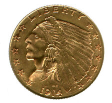 1914 D $2.50 GOLD INDIAN HEAD HALF EAGLE U.S. COIN BU