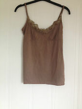 RIVER ISLAND BROWN SEQUIN CAMI TOP – SIZE 8 EXCELLENT CONDITION