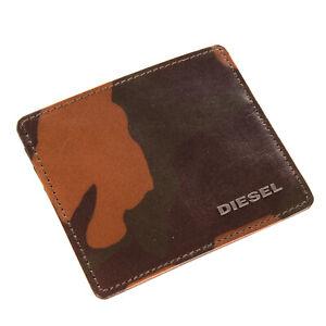 DIESEL JOHNAS I Leather Wallet Card Holder Case Camouflage Pattern Metal Logo