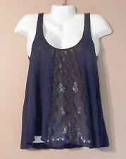 Womens  FREE PEOPLE Blue Tank Top Shirt Size S Embroidered lace front Babydoll