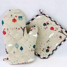 Single Oven Glove & Insulation Pad Set Cartoon Kitchen Baking Anti-scald Mitts