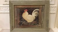 """Glenda Brown Rooster from """"Hens And Rooster"""" Frame Pictures 12""""x10"""" EUC"""
