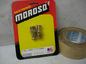 2 NOS VINTAGE MOROSO FUEL LINE HOSE BRASS FITTINGS 65390 HOLLEY CHEVY FORD MOPAR