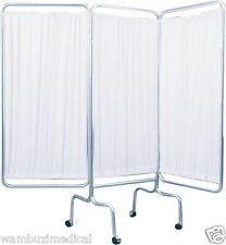 Privacy Screen Medical Doctor Office 3 Panel Patient Room Divider Wheels