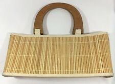 Vintage Women Bamboo Bag Purse Wood Handle Canvas-Trimmed In Pocket Boho Beach