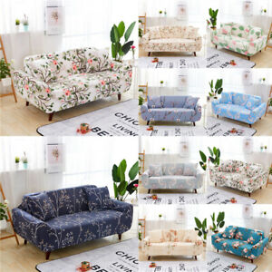 1/2/3/4 Seater Floral Sofa Cover Stretch Elastic Fabric Couch Slipcover  Fit